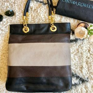 💎Like New! Cynthia Rowley Leather Blk/Bn Tote💎